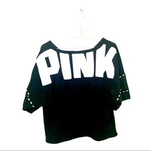 Pink Black super cute! crop top White Lettering
